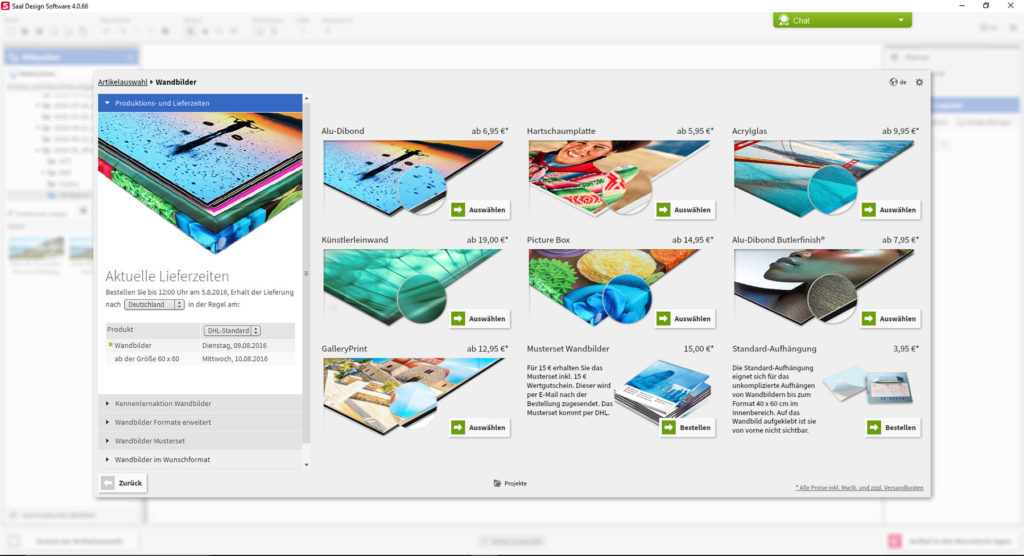 Screenshot: Saal Digital Design-Software
